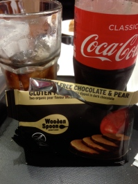 Pear and chocolate biscuits with Coca-Cola